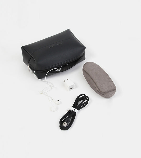 Leather Pouch (Black) - Flatlay