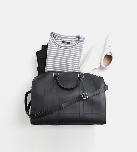 Leather Duffel Bag (Black) - Flatlay