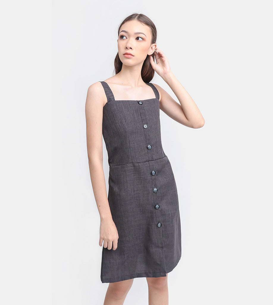 The Linen Button-Down Dress (Charcoal)