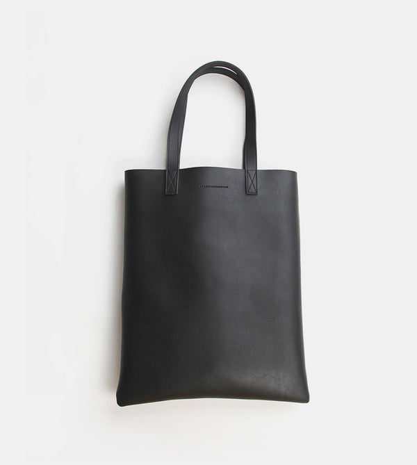 Daily Vegan Leather Portrait Tote Bag (Black)