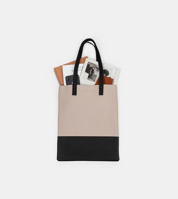 Daily Vegan Leather Portrait Two Tone Tote (Ivory / Black)