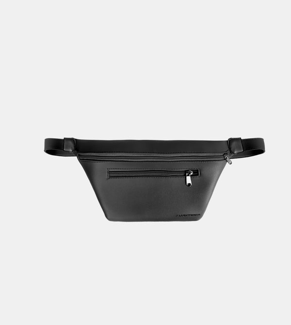 Daily Vegan Leather Multi-Pocket Belt Bag (Black)