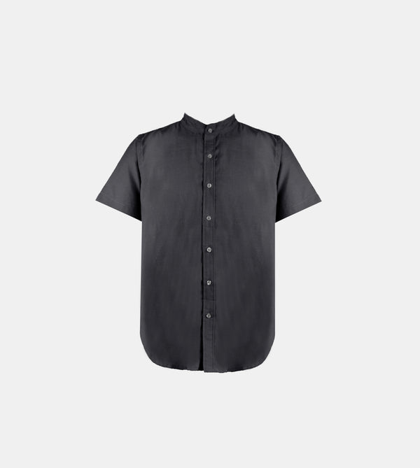 Japanese Chambray Mandarin Collar (Black)