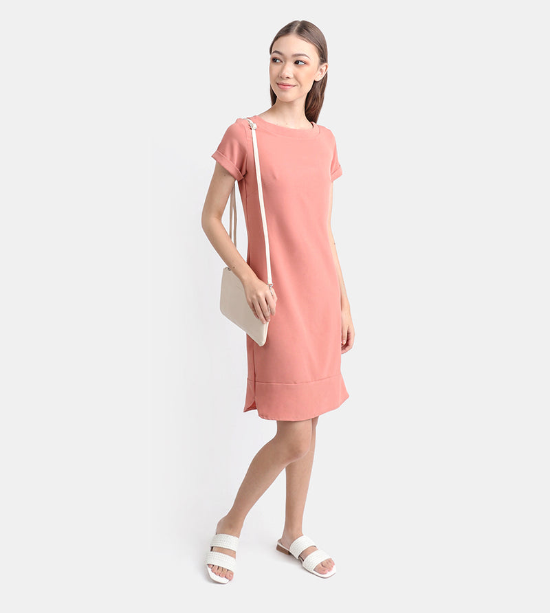 The Classic Stretch Tee Dress (Blush)
