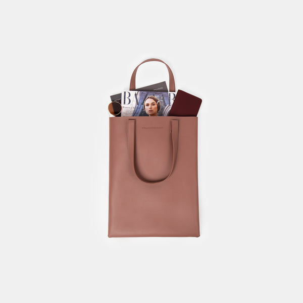 Daily Vegan Leather Portrait Tote Bag (Blush)