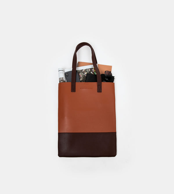 Daily Vegan Leather Portrait Two Tone Tote (Tan / Brown)