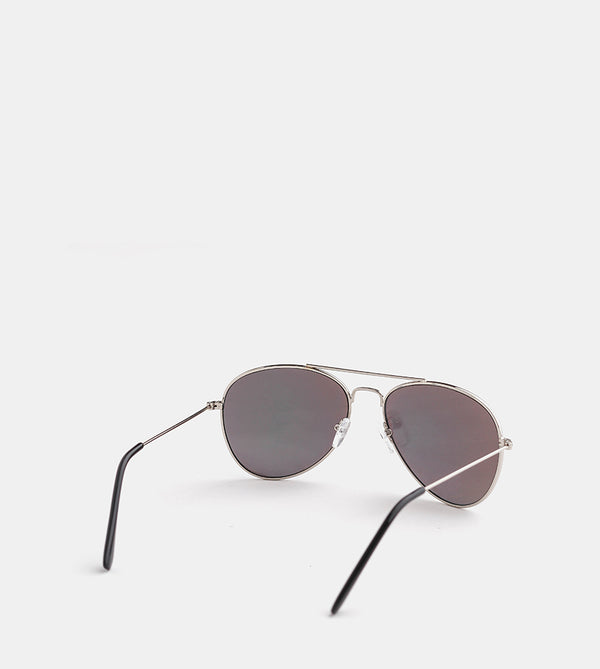 The Skye Sunglasses (Silver Frame w/ Gold Mirror Lens) - Back