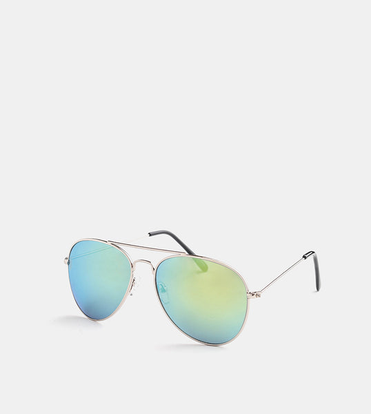 The Skye Sunglasses (Silver Frame w/ Gold Mirror Lens) - Diagonal