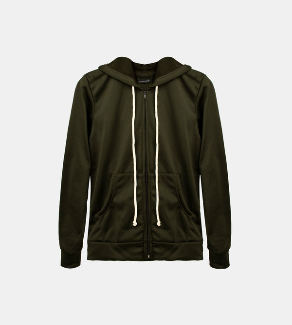Double Brushed Terry Zipped Hoodie (Dark Green)