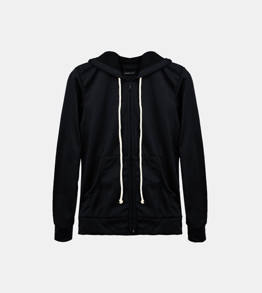 Double Brushed Terry Zipped Hoodie (Black)