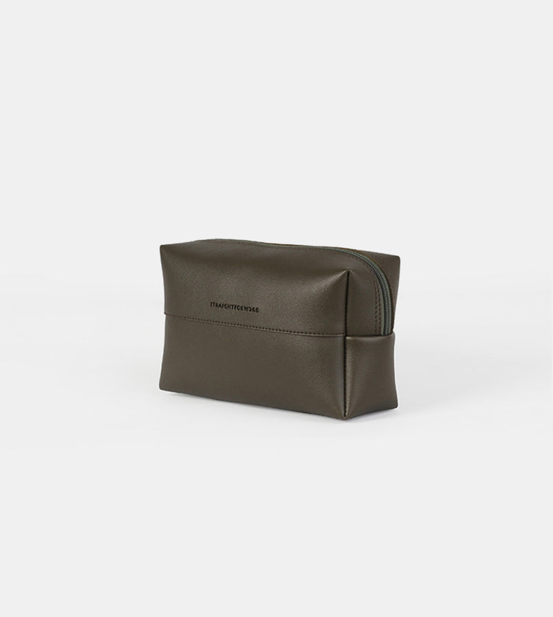 Leather Pouch (Army Green) - Diagonal