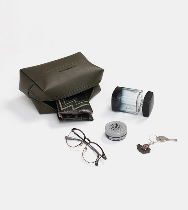 Leather Pouch (Army Green) - Flatlay
