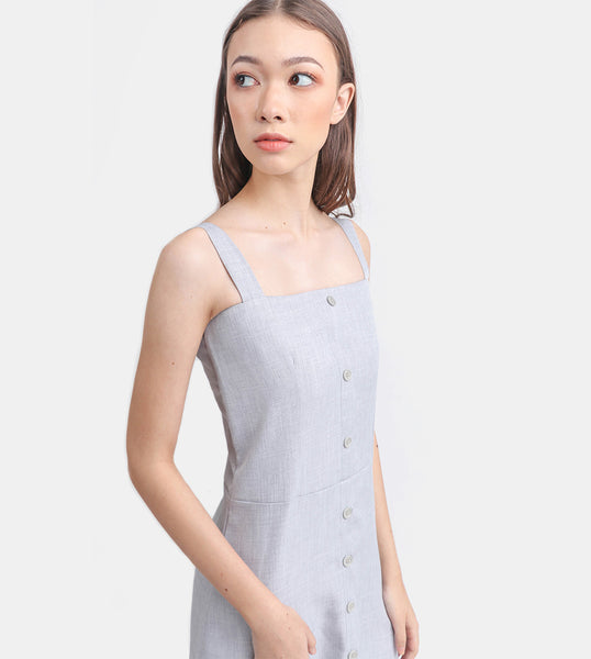 The Linen Button-Down Dress (Light Grey)