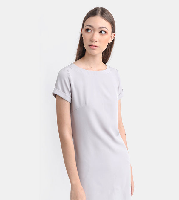 The Classic Stretch Tee Dress (Light Grey)