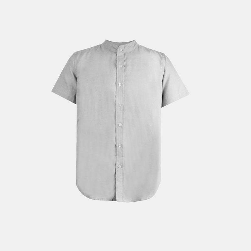 Japanese Chambray Mandarin Collar (Gray)