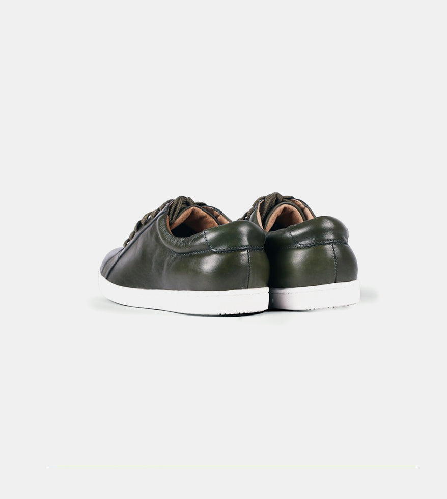Leather Sneakers (Military Green) - Back