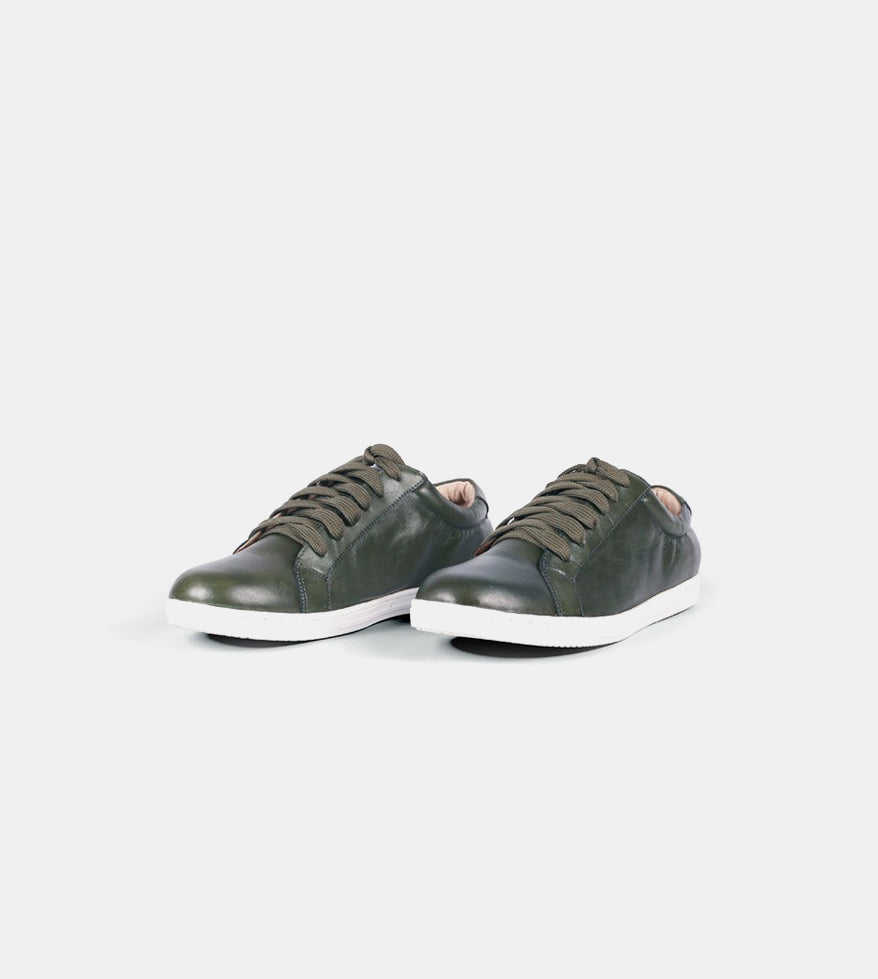 Leather Sneakers (Military Green) - Profile