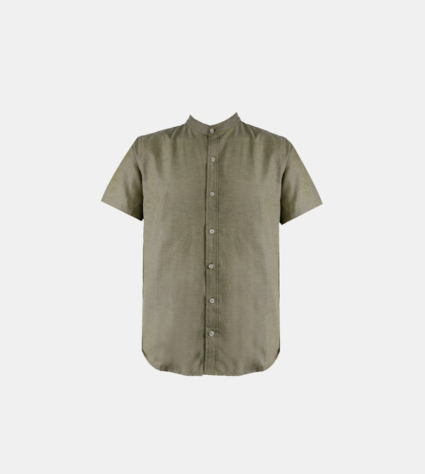 Japanese Chambray Mandarin Collar (Olive Green)