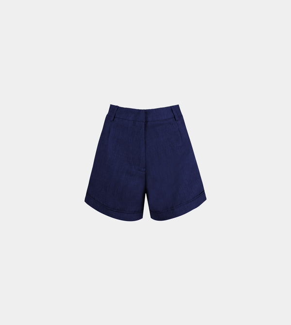 Lux Linen High Waist Shorts (Navy Blue)