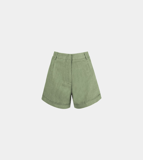 Lux Linen High Waist Shorts (Green)