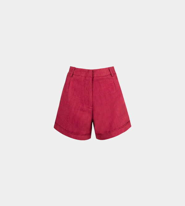 Lux Linen High Waist Shorts (Maroon)