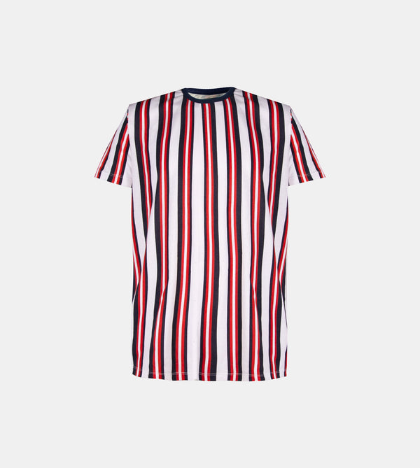 Essential Blend Vertical Striped Tee (Navy Blue / Red)