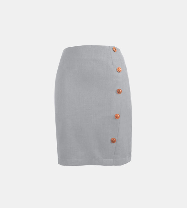Linen A-Line Skirt (Light Gray)