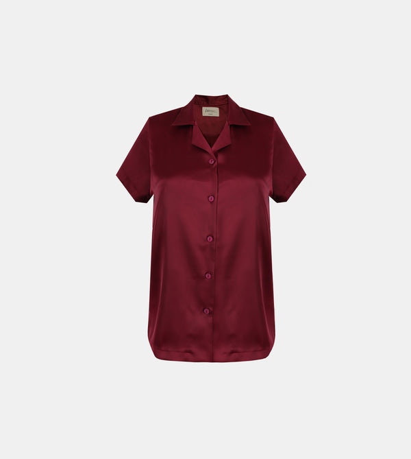 Relaxed Silk Charmeuse Lounge Shirt (Maroon)