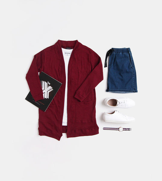 Fleece Cardigan (Maroon)