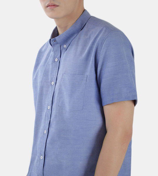 Work & Play Button Down (Medium Blue) - Detiled