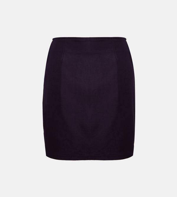 Twill Weave Mini Skirt (Navy Blue)