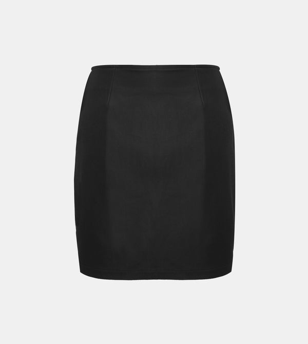 Twill Weave Mini Skirt (Black)