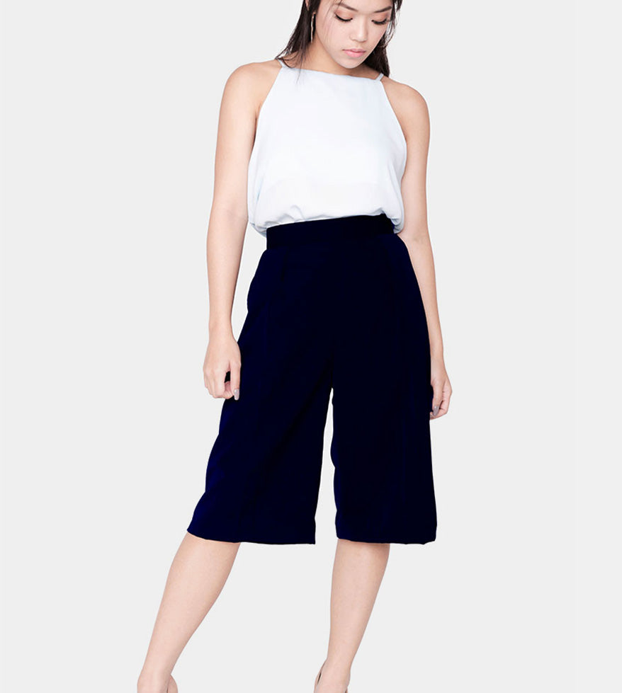 The Power Culottes (Navy Blue) - Detail