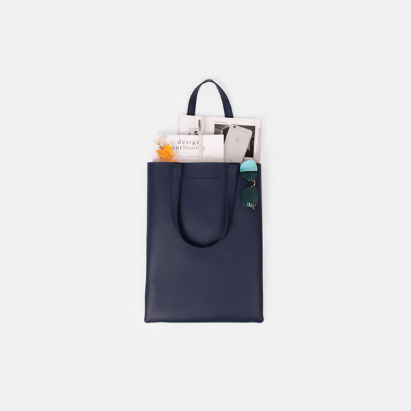 Daily Vegan Leather Portrait Tote Bag (Navy Blue)