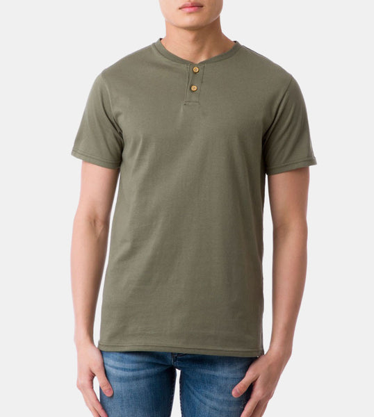 Henley Tee (Olive) - Front