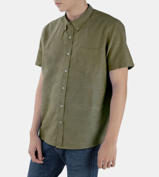 Work & Play Button Down (Olive Green) - Front