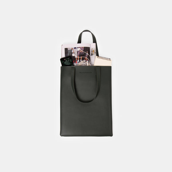 Daily Vegan Leather Portrait Tote Bag (Olive Green)
