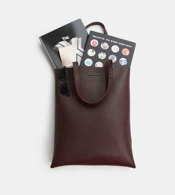 Daily Vegan Leather Portrait Tote Bag (Chestnut)