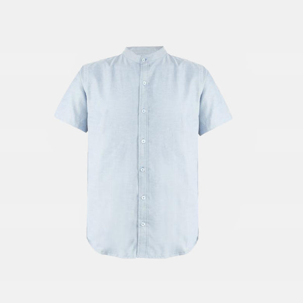 Japanese Chambray Mandarin Collar (Powder Blue)