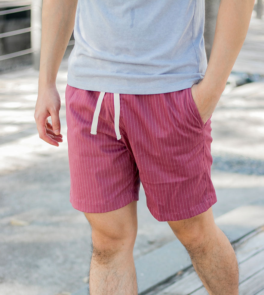 Premium Pin Stripes Shorts (Old Rose) - Model Shot