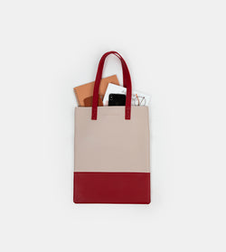 Daily Vegan Leather Portrait Two Tone Tote (Ivory / Maroon)