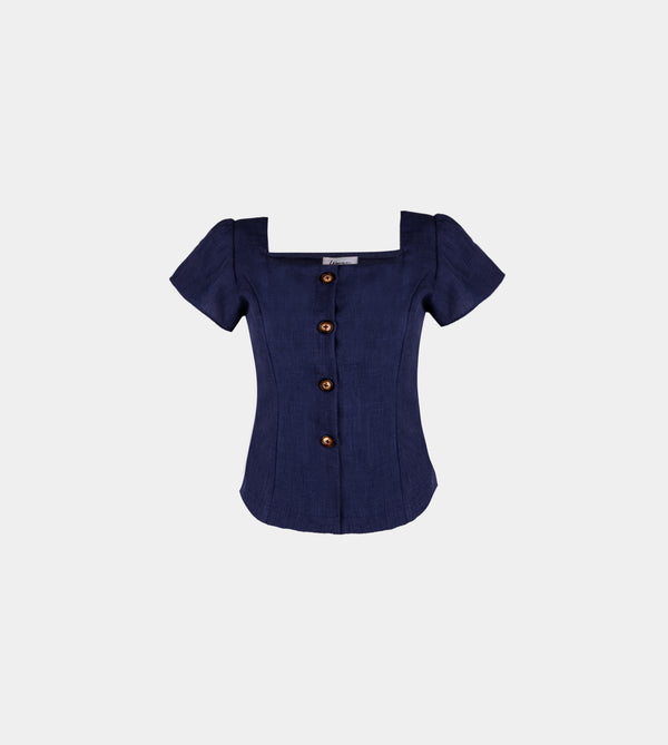 Lux Linen Ruffle Sleeve Top (Navy Blue)