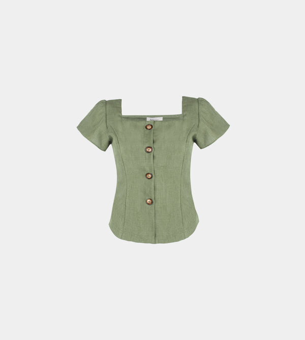 Lux Linen Ruffle Sleeve Top (Green)