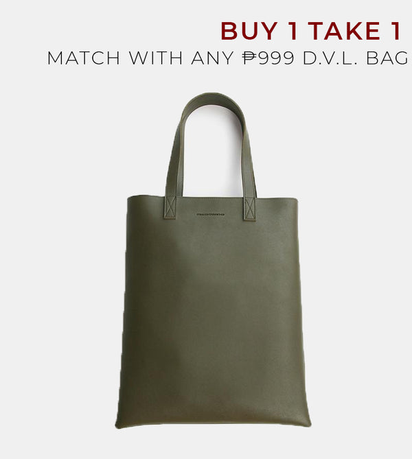 Daily Vegan Leather Portrait Tote Bag (Army Green)