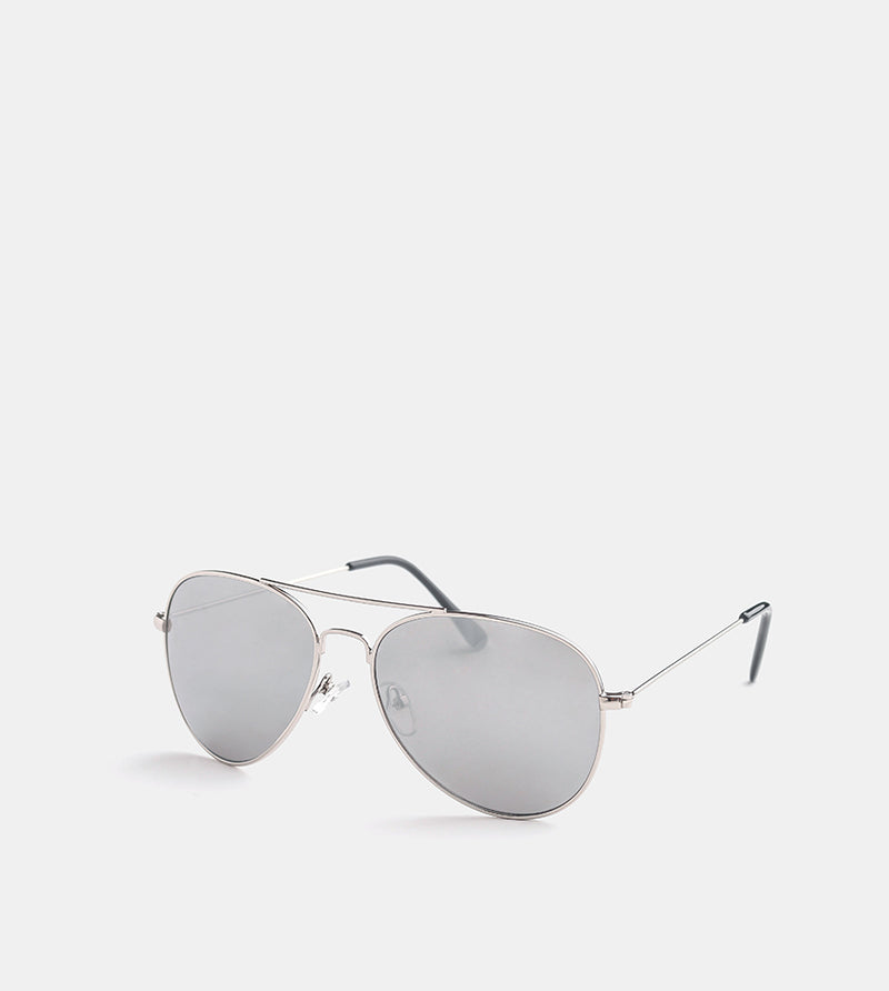 The Skye Sunglasses (Silver Frames w/ Silver Mirror) - Diagonal