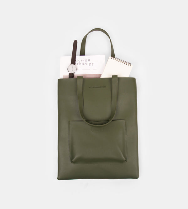 Daily Vegan Leather Tote with Patch Pocket (Army Green)