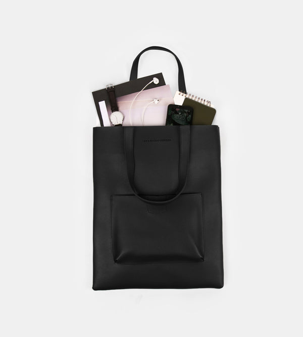 Daily Vegan Leather Tote with Patch Pocket (Black)
