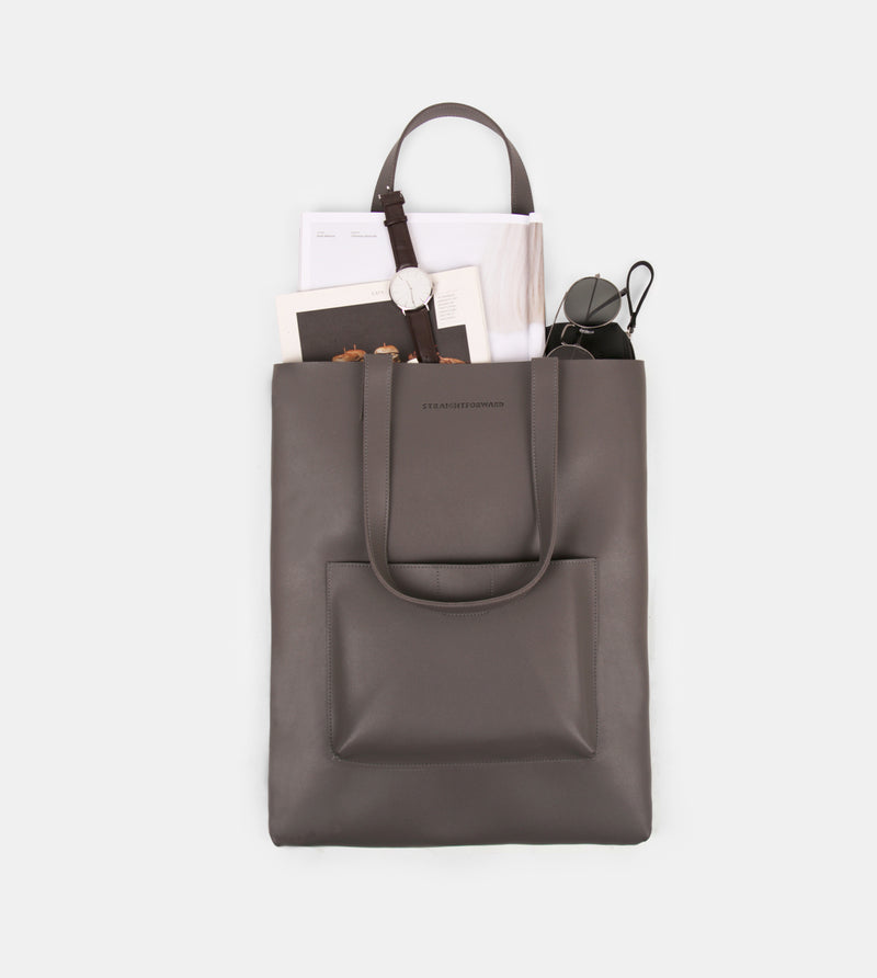 Daily Vegan Leather Tote with Patch Pocket (Gray)