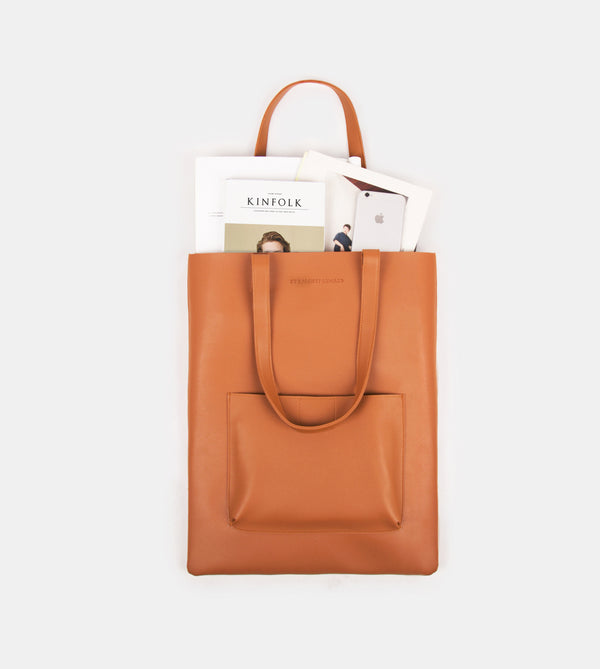 Daily Vegan Leather Tote with Patch Pocket (Tan)