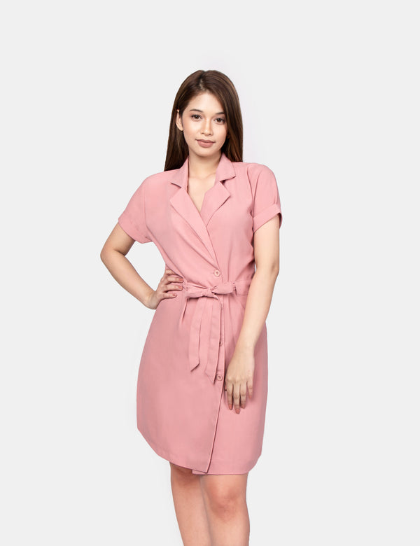 Lapel Dress (Blush)
